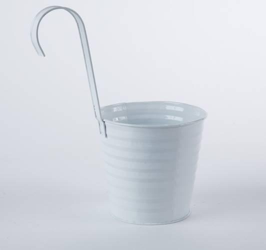 Portavaso latta bianca con gancio cm16