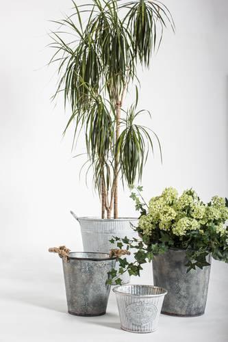 Portavaso latta zincata alto Flower Garden con manici