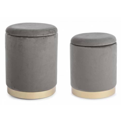 Coppia pouf contenitore velluto grigio