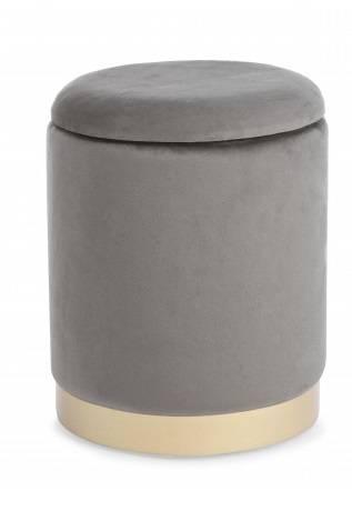 Pouf contenitore velluto grigio 30X37H