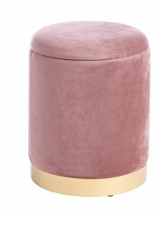 Pouf contenitore velluto rosa antico 30x37h