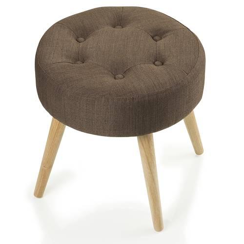 Pouf imbottito cotone marrone tondo con piedi legno