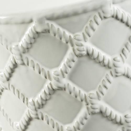 Pouf porcellana bianca decoro corda