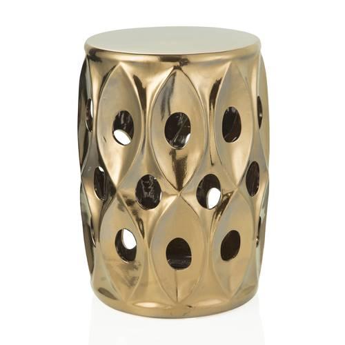 Pouf porcellana bronzo gold con fori