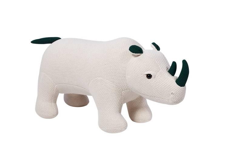 Pouf rinoceronte bianco tricot cotone