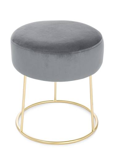 Pouf tondo velluto grigio base metallo oro