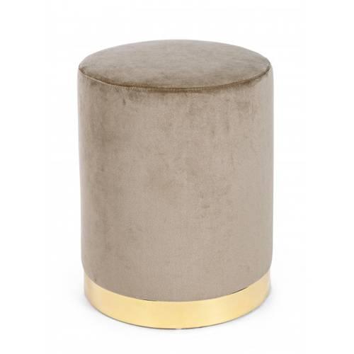 Pouf cilindro velluto tortora fascia oro 40h