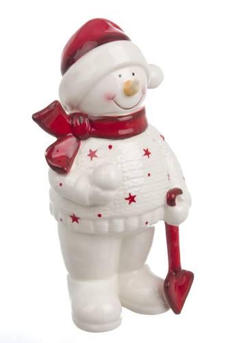 Pupazzo di neve ceramica stelline rosse