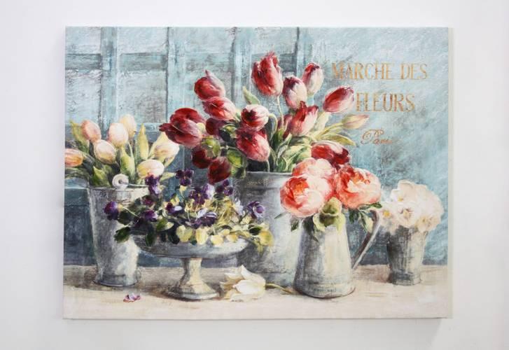 Quadro a olio floreale Marche de flurs 80x60