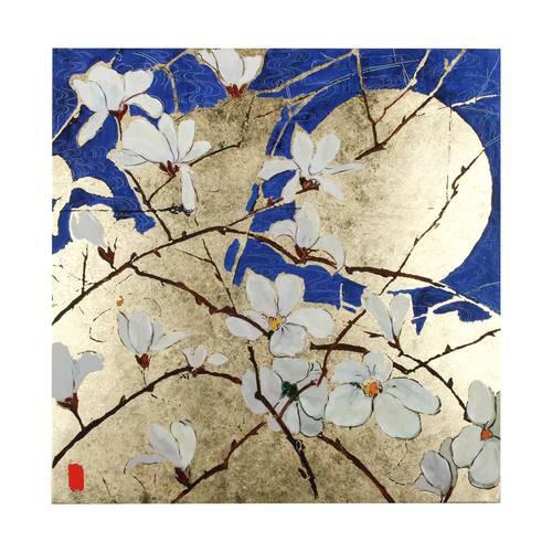 Quadro blu e oro dipinto con orchidee bianche 90x90
