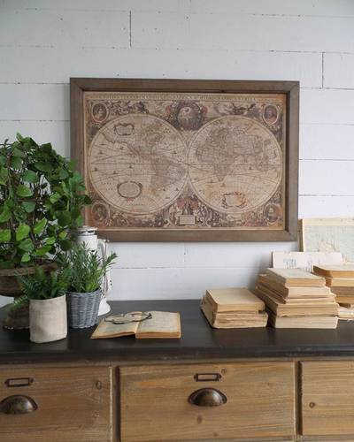 Quadro carta geografica globi cornice in legno