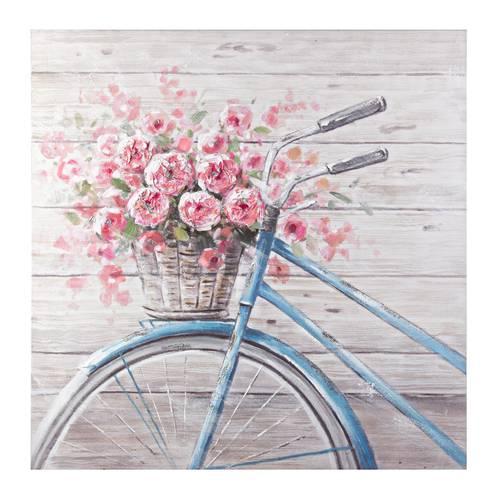 Quadro dipinto a olio bicicletta azzurra con fiori 80x60