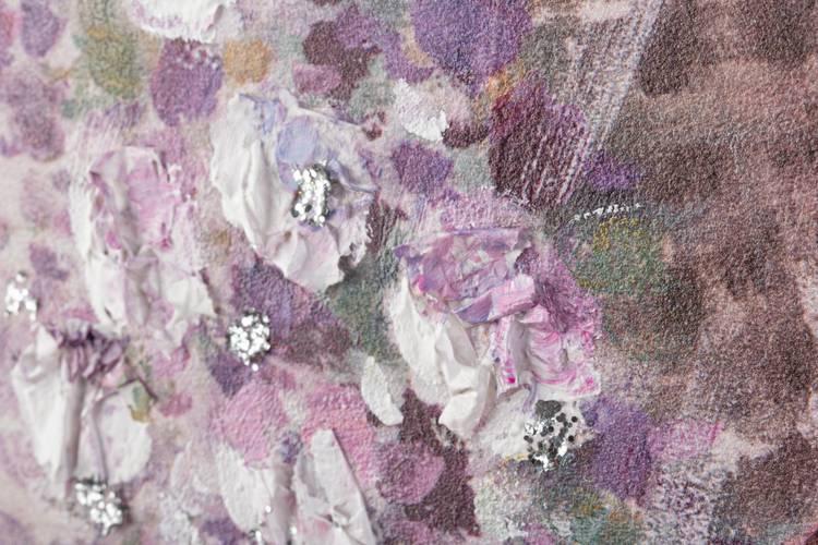 Quadro dipinto a olio bicicletta rosa con fiori 80x60