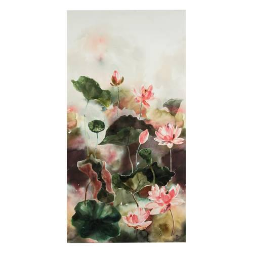 Quadro dipinto fiori di loto rosa 65x130