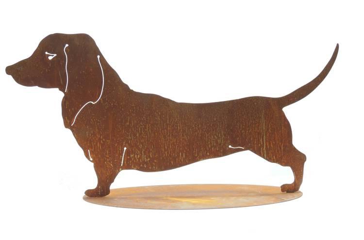 Sagoma cane bassotto ferro ruggine da giardino
