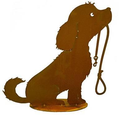 Sagoma cane con guinzaglio ferro ruggine da giardino