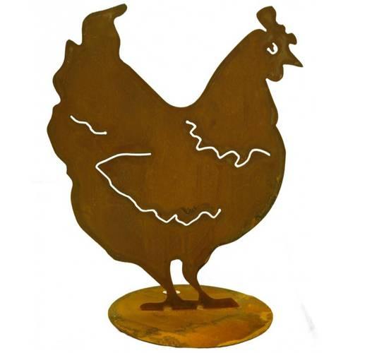 Sagoma gallina ferro ruggine da giardino 40h