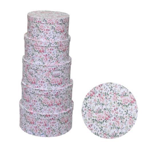 Scatola cartone tonda stampa rose