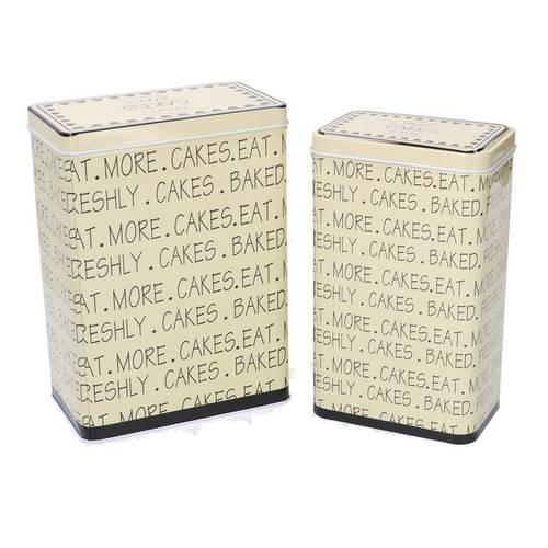 Scatola latta biscotti scritte Cakes alta rettangolare