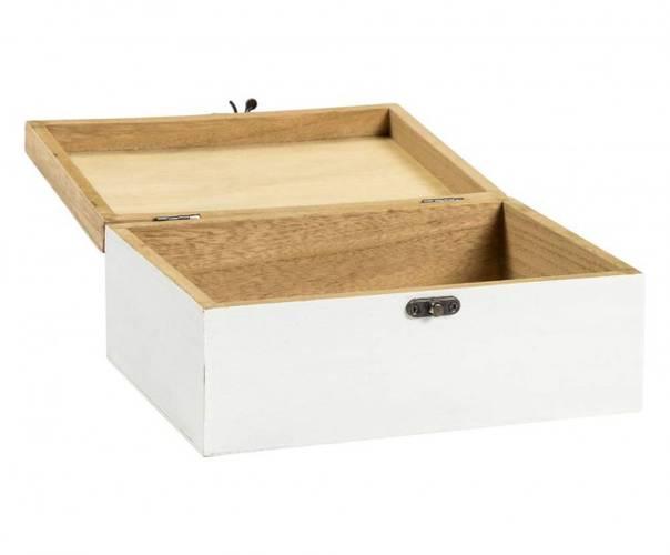 Scatola legno bianca e naturale decoro timbri 23x17