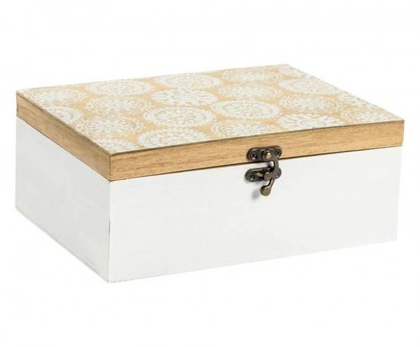 Scatola legno bianca e naturale decoro timbri 26x20