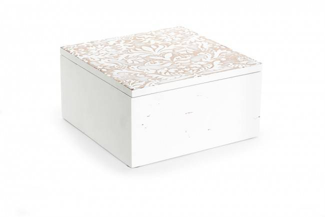 Scatola legno bianco coperchio decorato