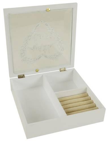 Scatola legno bianco portagioielli Whit love