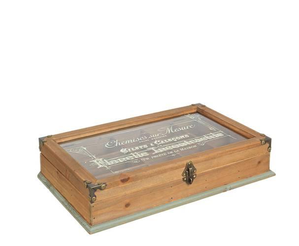 Scatola legno vintage divisorie con vetro