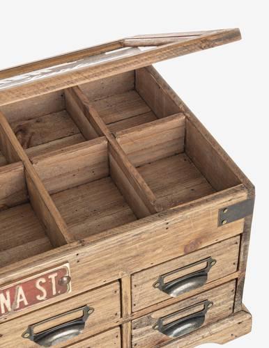 Scatola legno vintage divisorie con 8 cassetti con vetro