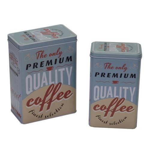 Scatola metallo azzurra Quality Coffee