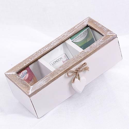 Scatola porta bustine tea crema con cuore 3 posti