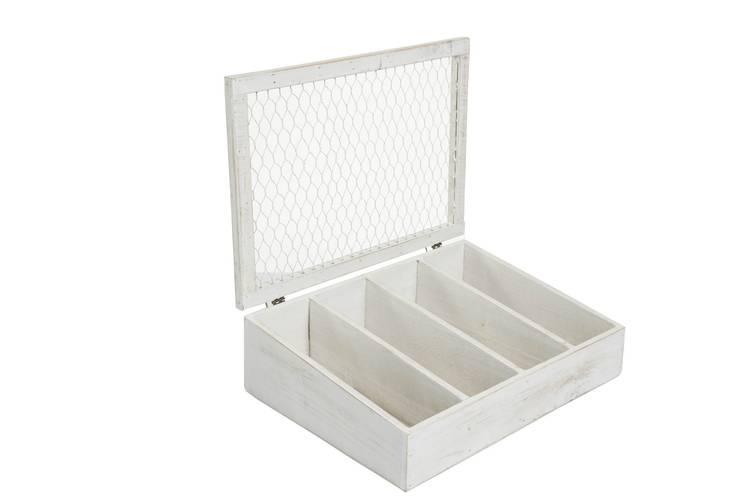 Scatola portaposate legno bianco con coperchio