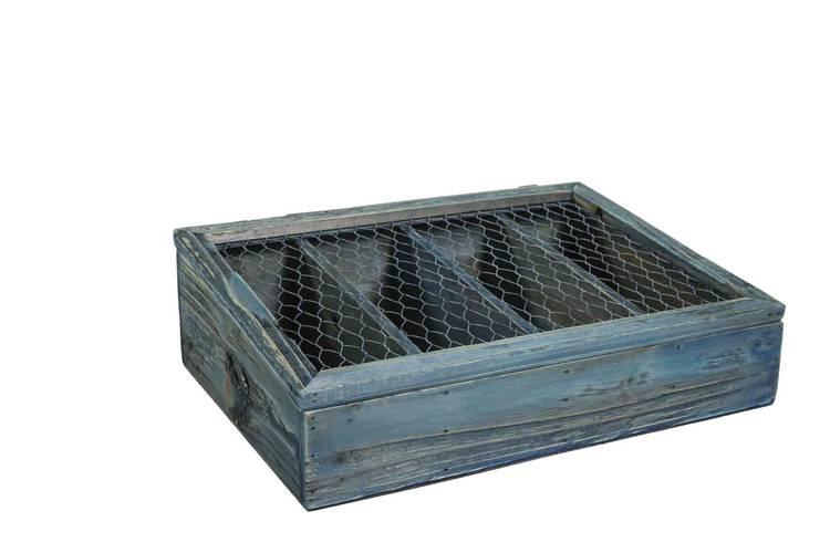 Scatola porta posate legno blu con coperchio