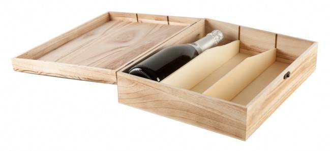 Scatola portabottiglie 3 posti legno naturale