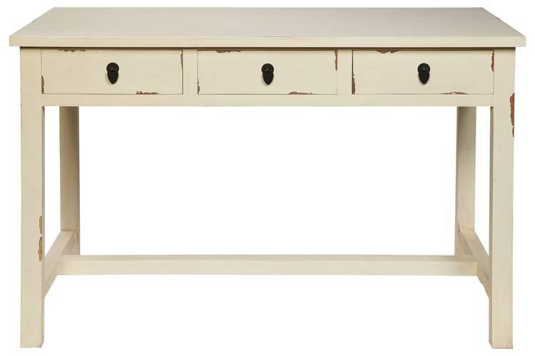 Scrivania legno bianco anticato 3 cassetti