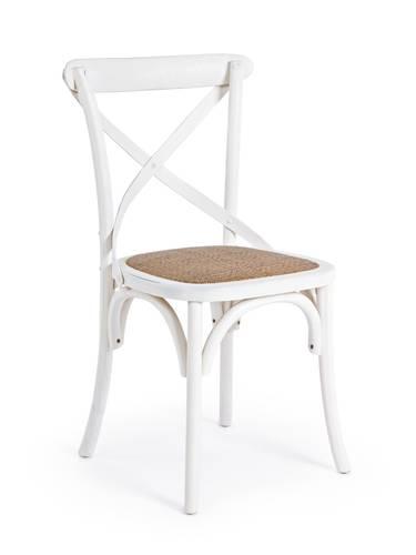 Sedia bianca legno olmo con seduta rattan