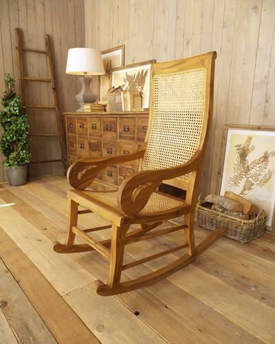 Sedia dondolo coloniale legno teak naturale
