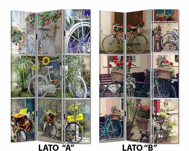 Separè tela stampa biciclette 3 ante