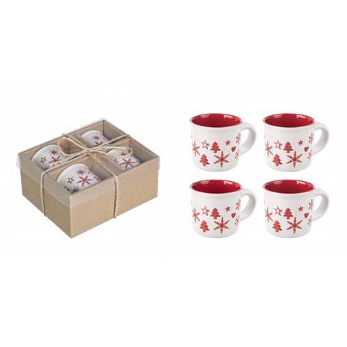 Set 4 tazzine caffè natale bianche decoro rosso snowy