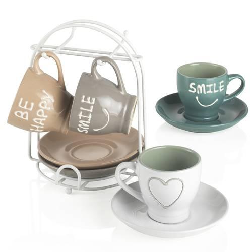 Set 4 tazzine caffe' smile con supporto