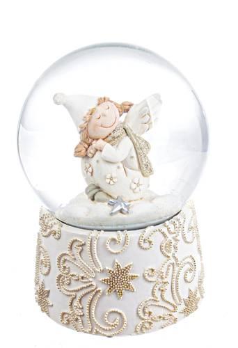 Sfera di neve bianca con bimba sogno con carillon 14,5h