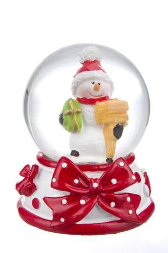 Sfera neve mini con fiocco rosso 6,5h
