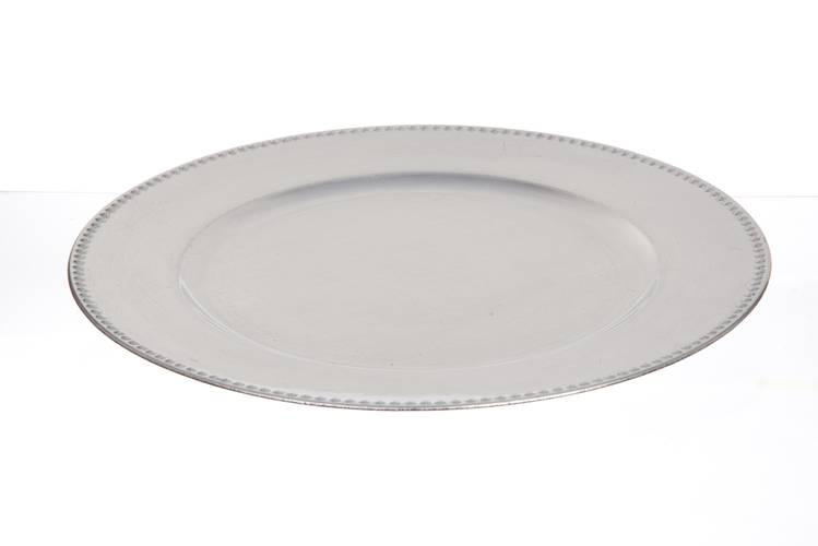 Sottopiatto liscio argento bordo gocce 33cm