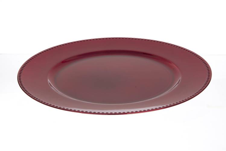 Sottopiatto liscio rosso bordo gocce 33cm