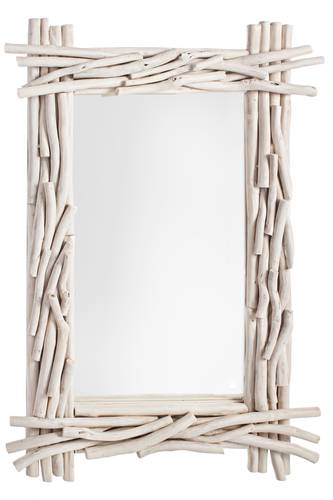 Specchio cornice rami di tek bianco 60x90