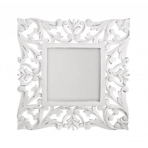 Specchio intarsi legno bianco 60x60