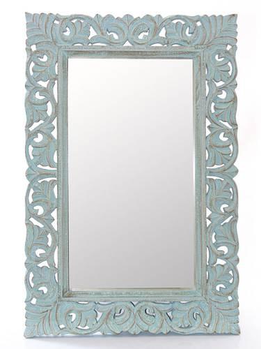 Specchio legno intagliato azzurro 60x90