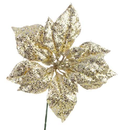 Fiore stella di natale oro glitterata 22,5h