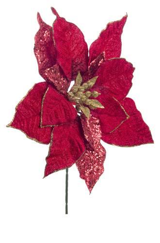 Fiore stella di natale velluto rossa e oro 22,5h