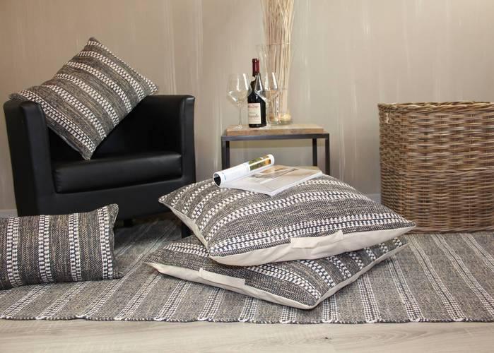 Tappeto cotone intrecciato grigio  righe bianche 120x180